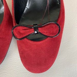 kate spade Shoes - Kate Spade Red Suede Heels w/Bow NWOT 7M